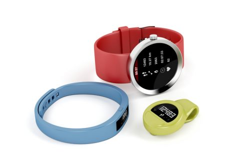 Smartwatch and activity trackers on white background