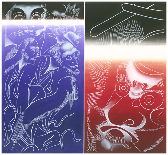 "ED AULERICH-SUGAI,  GHOSTS AND DEMONS: DIPTYCH , 1989, MIXED MEDIA ON PAPER, 29.5"" X 27"". COLLECTION OF BAMPFA."