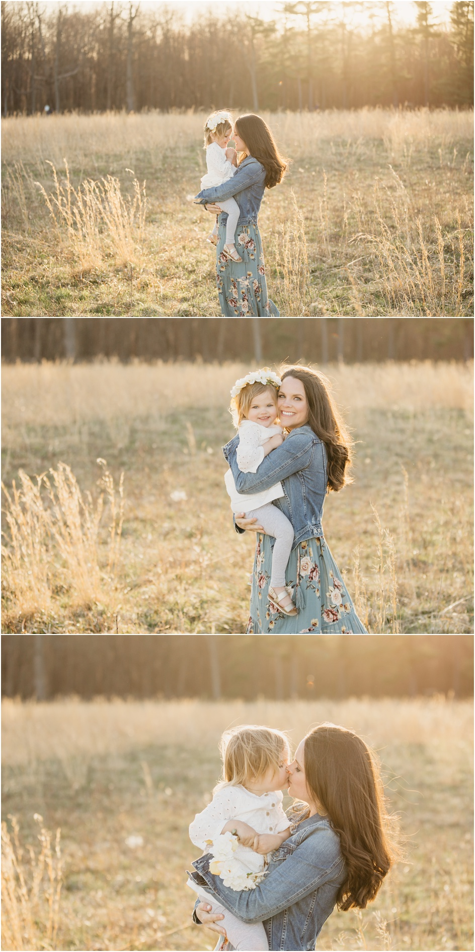 Mother Daughter portraits sunny field