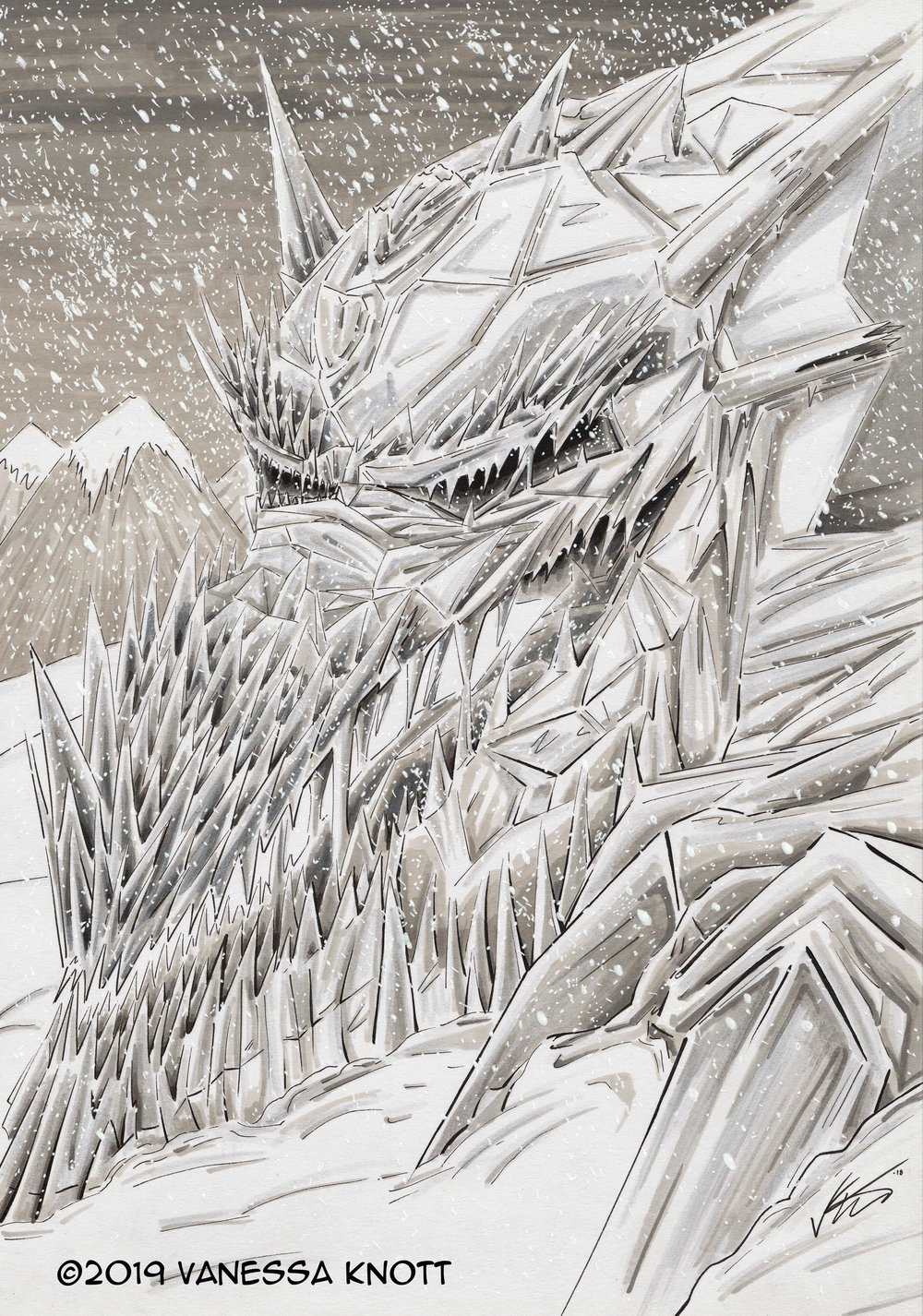 Ice Dragon (Smaugust Art Challenge) 2018, Promarkers on paper, 21.0 x 29.7cm