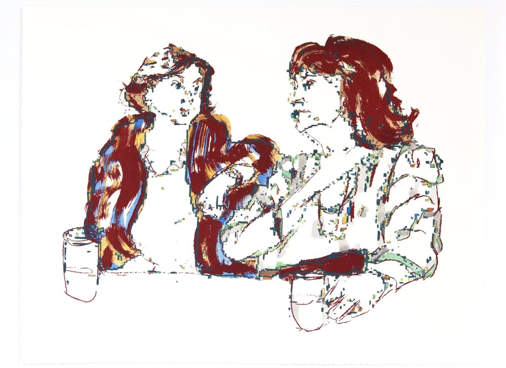 Childhood Friends At Dinner    Silkscreen print and watercolor on Somerset, 2015