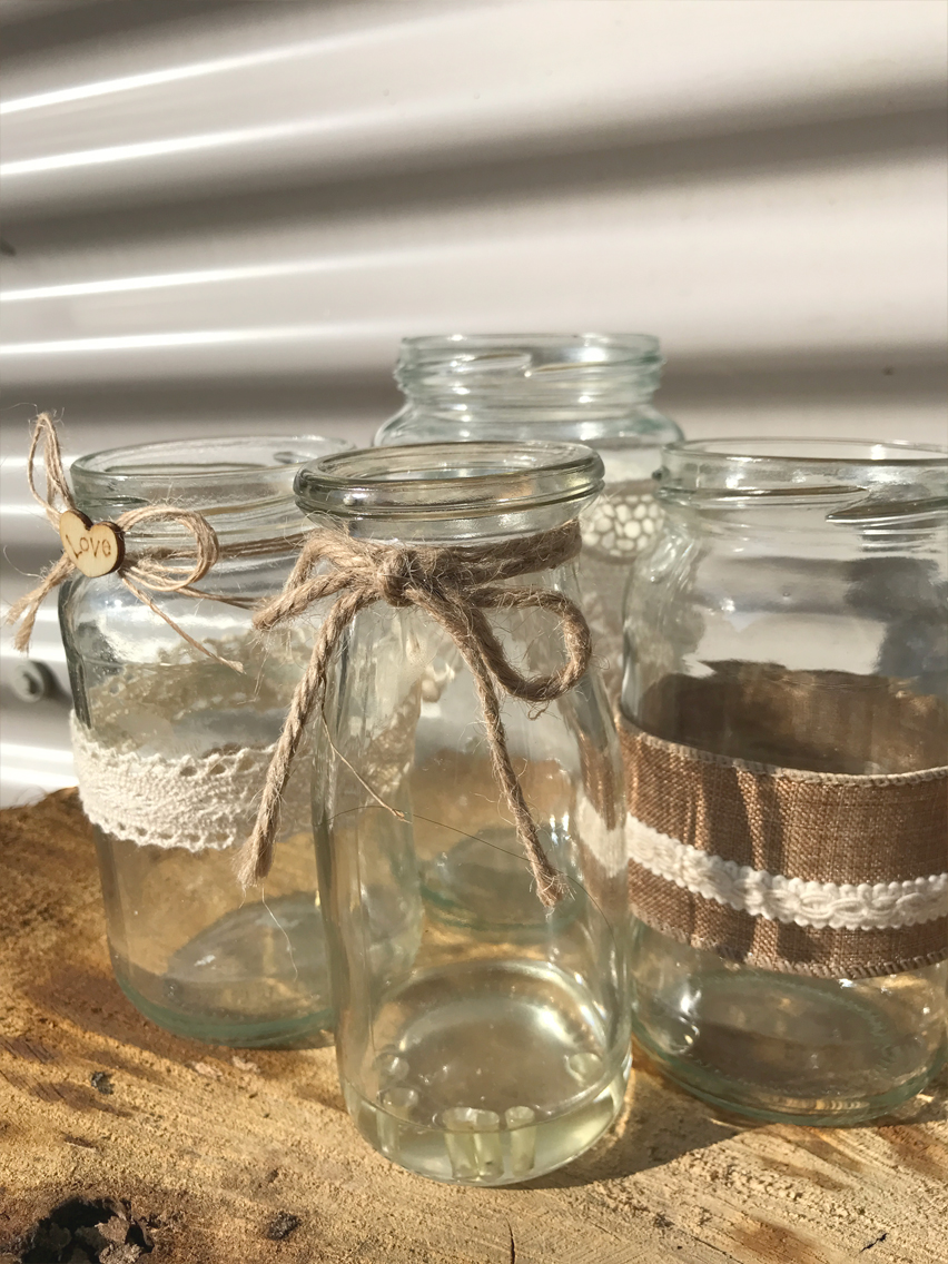 Mixed decorated jars £1.00