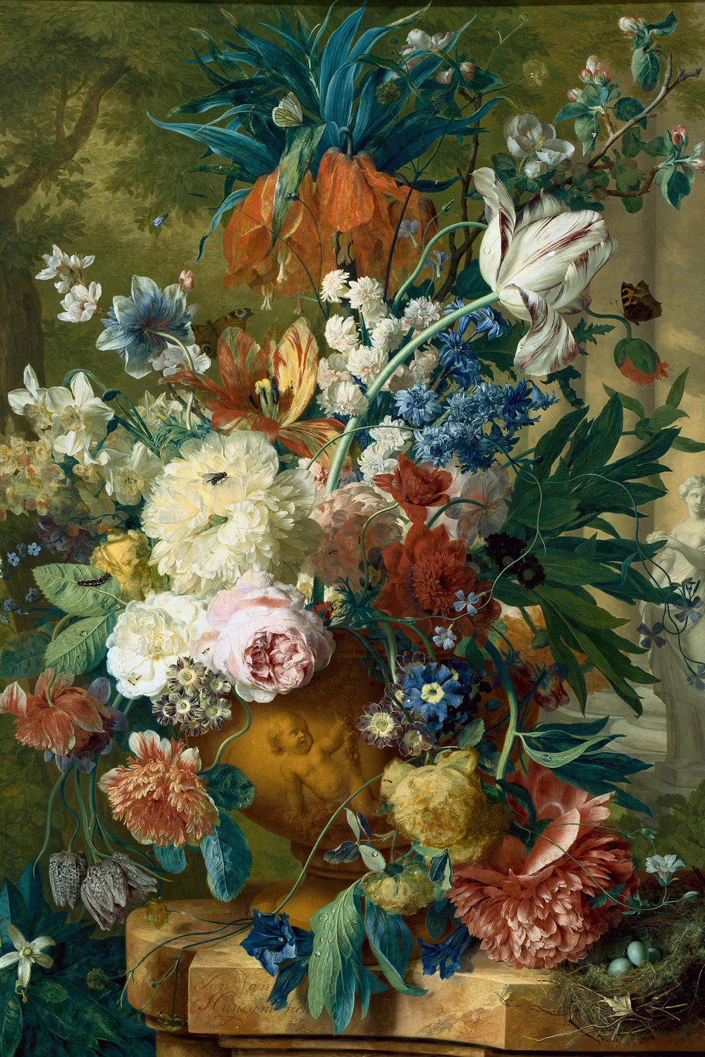 Jan van Huysum, Flowers in a Vase with Crown Imperial and Apple Blossom at the Top and a Statue of Flora 1731-2.  What's in this bouquet?  Fritillaria imperialis ,  Fritillaria meleagris ,  Tulipa  spp.,  Narcissus  spp.,  Paeonia  spp.,  Rosa  spp . ,  Vinca  spp.,  Primula  spp.,  Malus  spp.,  Papaver somniferum  or  orientale ,  Ipomoea purpurea .  Whoa… No wonder it took van Huysum two years to paint.