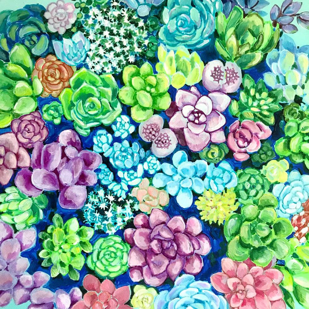 Pot Full of Succulents, detail