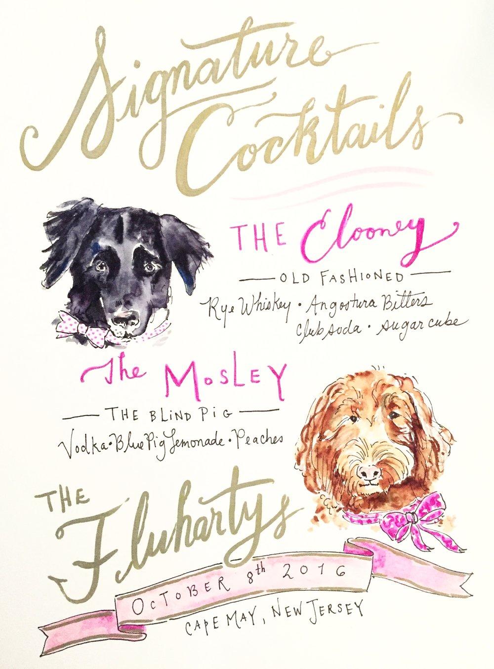The Fluharty's Signature Cocktail Menu