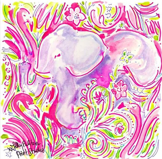 Lilly 5x5 - Elephant and Flamingos