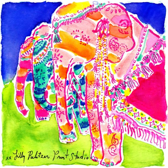 Lilly 5x5 - Painted Elephants