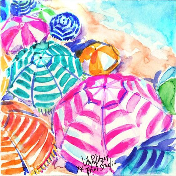 Lilly 5x5 - Striped Beach Umbrellas