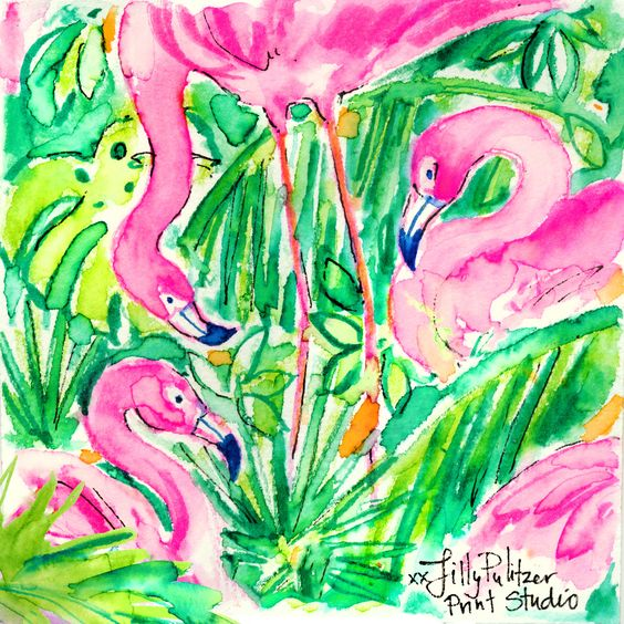Lilly 5x5 - Three Flamingos