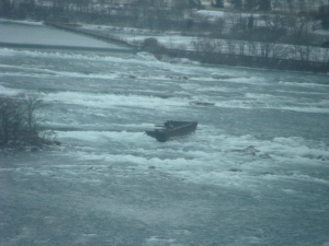 The  Niagara Scow , as seen from above. Photo by Heather Elliott, 2010.