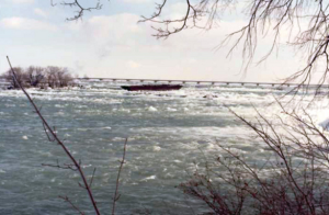 The scow, as seen from shore.
