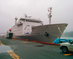 Akademik Sergey Vavilov  in St. John's Harbour. Photo by Heather Elliott.