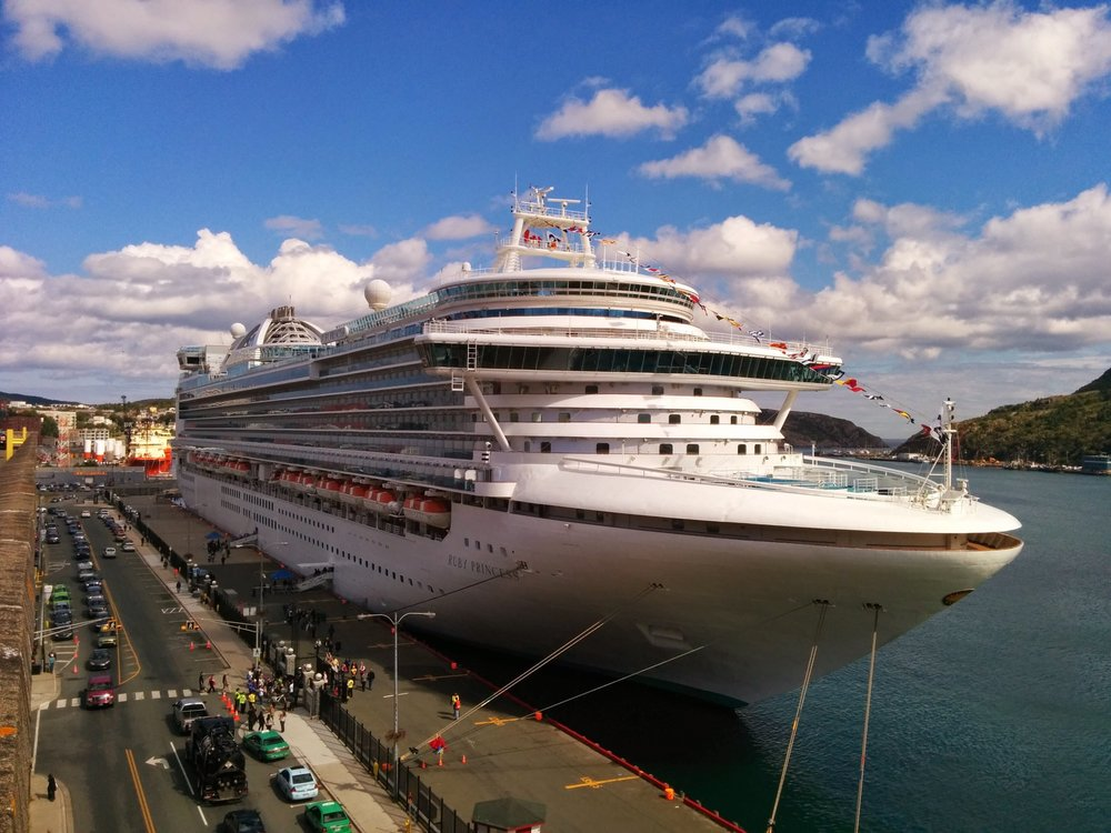 The  Ruby Princess  managed to arrive on a gorgeous sunny day. Photo by Heather Elliott.