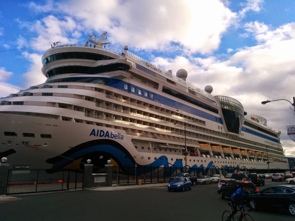 The AIDA bella  brightened up Harbour Drive this week. Photo by Heather Elliott.