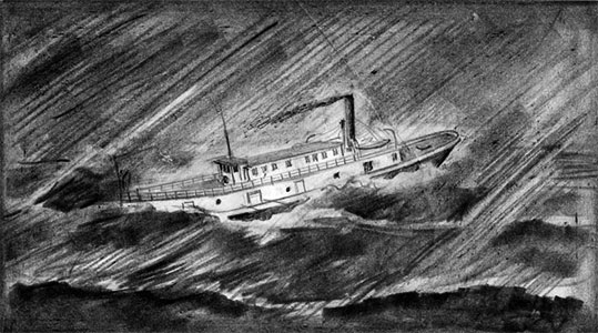 SS  Princess  fighting the storm. Sketch from Manitoba Archives.