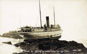 SS  Princess May , wrecked on the rocks. Image from the Alaskan Digital Archives.