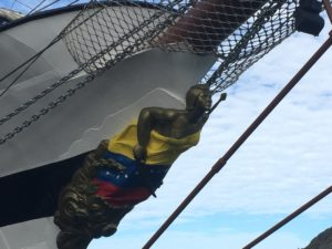 The figurehead of the  Sim  ón Bolívar