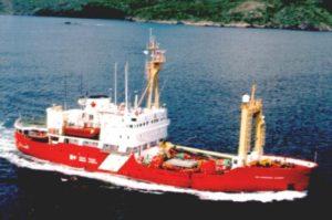 The CCGS  Sir Humphrey Gilbert  at sail, 1980s.
