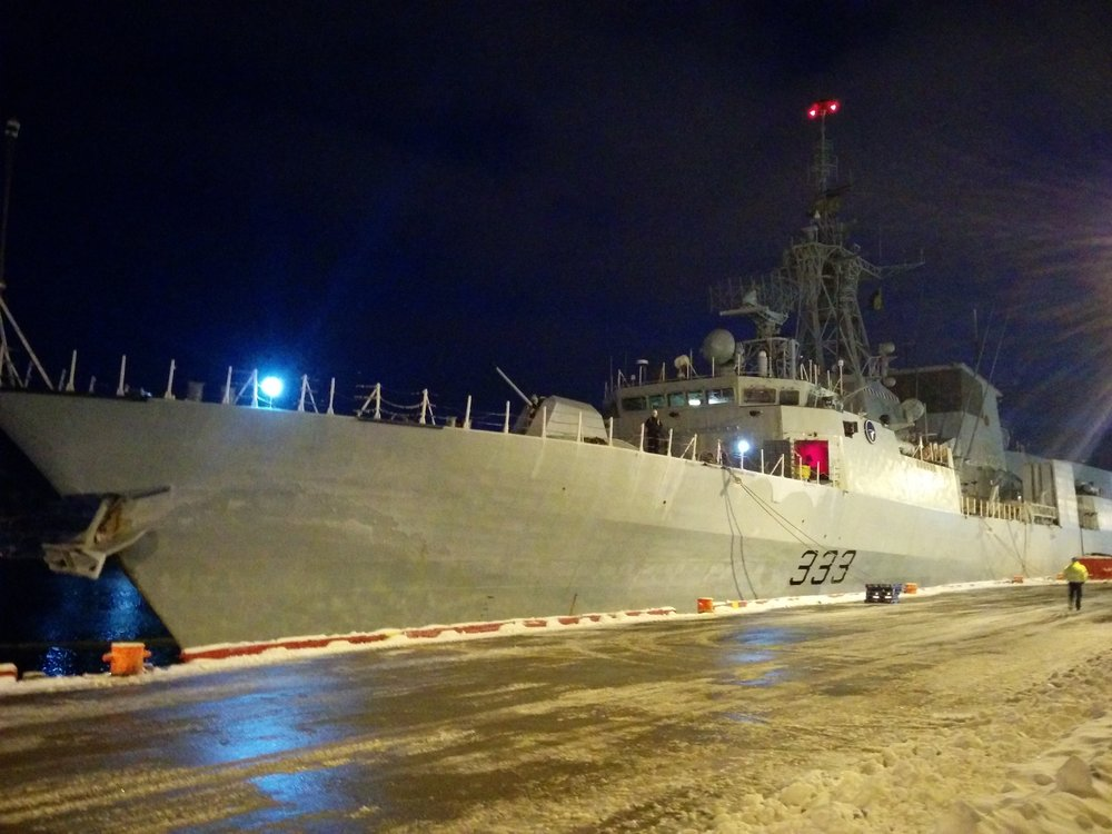 The HMCS  Toronto  moored in St. John's. Photo by Heather Elliott, 2015.