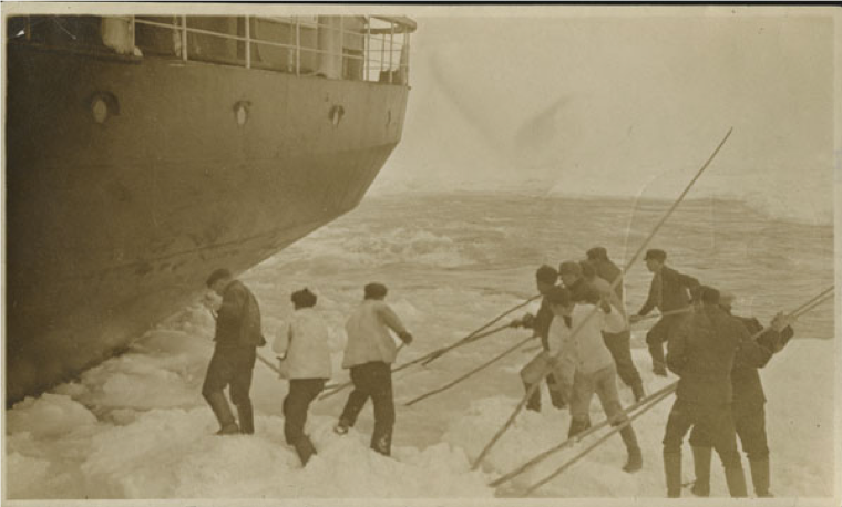 SS  Florizel  jammed, sealers loosening ice. Image A 9-15 from The Rooms Provincial Archives.