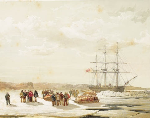 Sledge party leaving the HMS  Investigator . Painted by Samuel Gurney Cresswell.