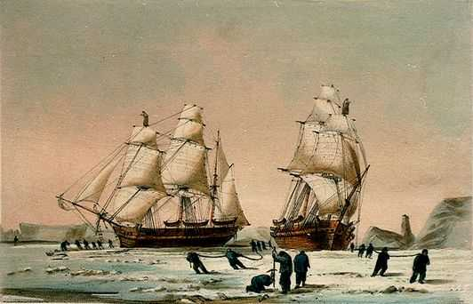 The  Investigator  and  Enterprise , stuck in the ice of Mercy Bay, 1850. Image from the National Maritime Museum online collection.