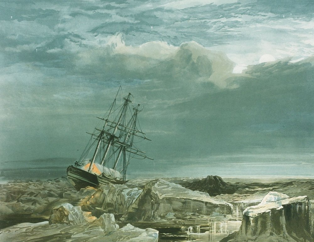 Investigator  in the ice. Painted by Samuel Gurney Cresswell.