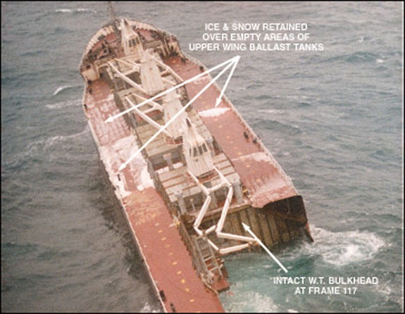 The bow of the  Flare,  adrift after the separation. Photo from the Transport Safety Board of Canada.