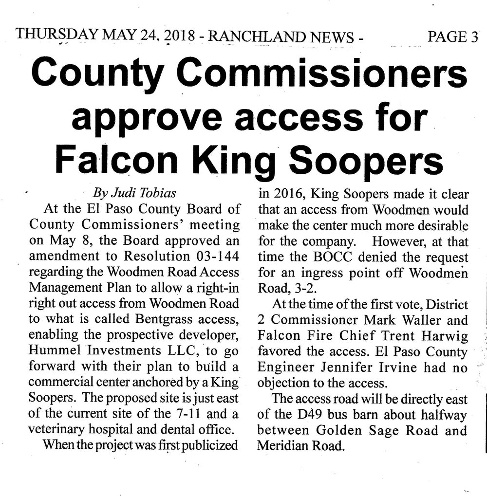 KING SOOPERS - COMING TO FALCON — The Meadows Homeowners Association
