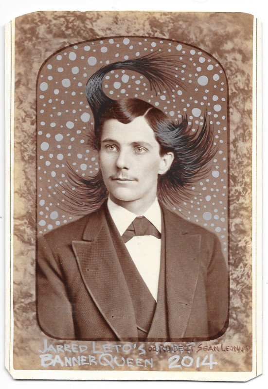 """Casiene and acrylic on original Victorian cabinet card (late 1800s) 4.25"""" x 6.5"""""""