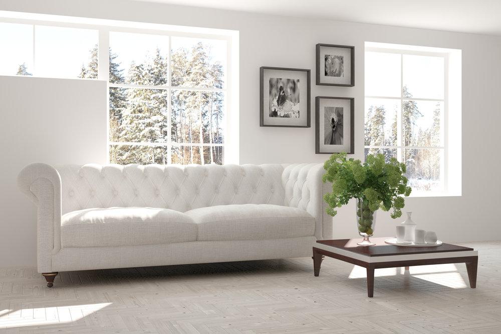 beautiful winter white - This beautiful living room is a wonderful example of elegant minimalism.