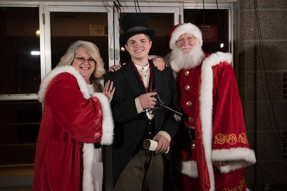 2018 Junior Territorial Governor, Harison Ford, with Santa and Mrs. Clause.