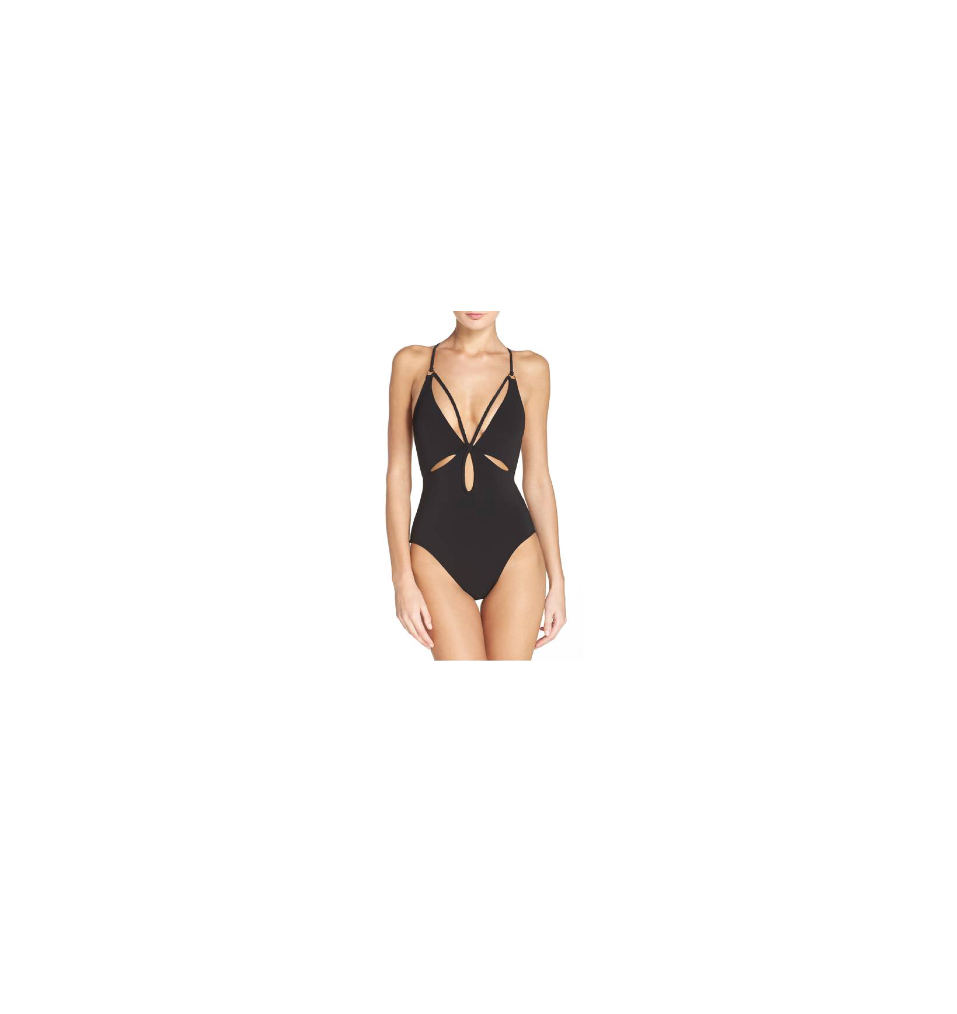A simple one piece black swimsuit is a must