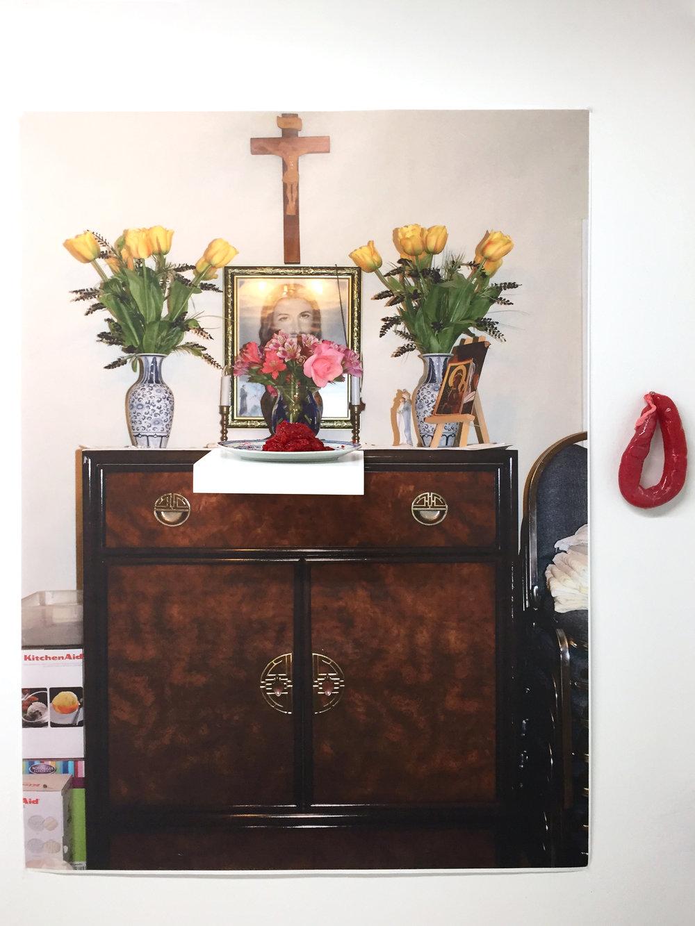 altar  digital image, shelf, blue and white porcelain, strawberry jello, sausage casing (2015)