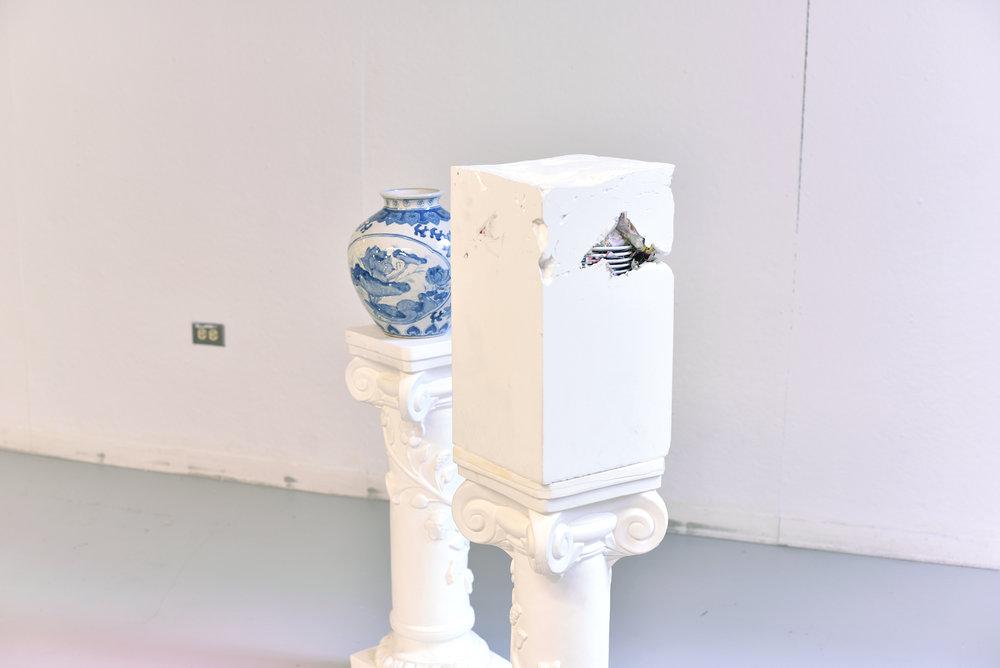 china cabinet [detail]  blue and white ceramic pot, blue and white ceramic dishes, plaster, plaster cast columns, ceramic tiles (2015)