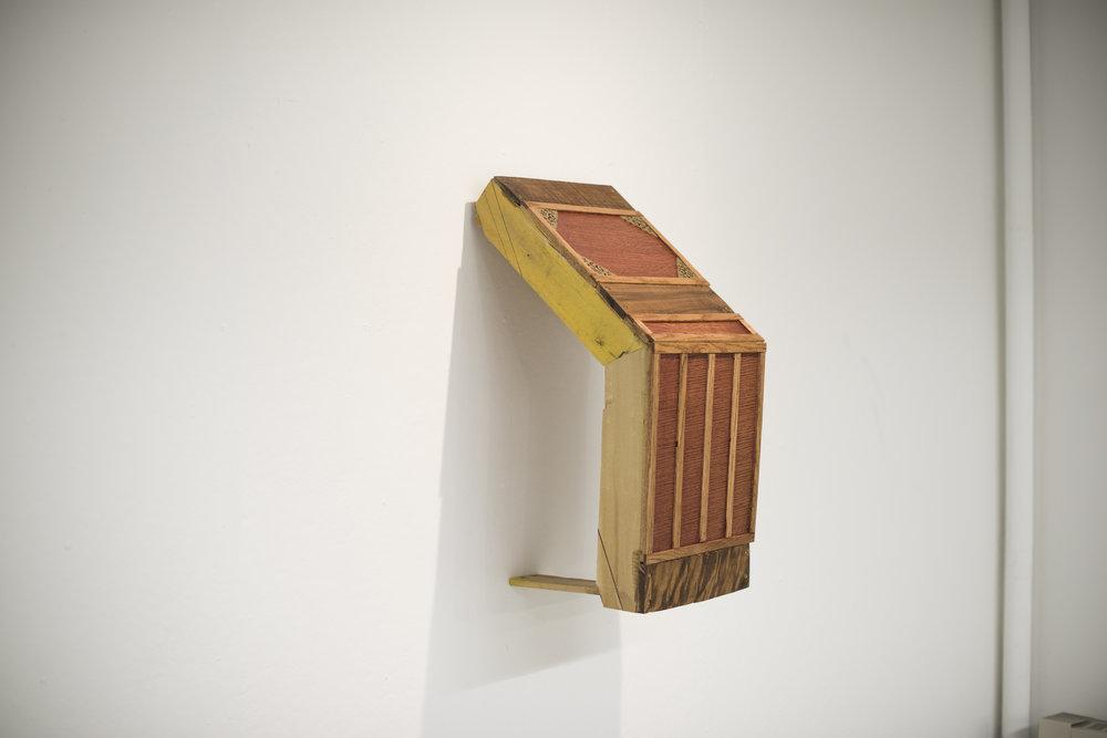 cabinet [detail]  found MDF, veneer, found wood, plaster, paper,plastic, 24 ct, gold leaf (2016)