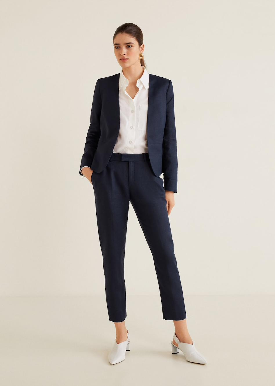 MANGO linen suit blazer, $99.95    MANGO linen suit pants, $79.95