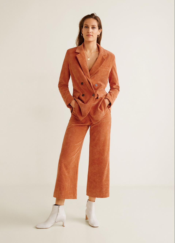 MANGO corduroy suit pants, $99.95    MANGO corduroy suit jacket, $129.95