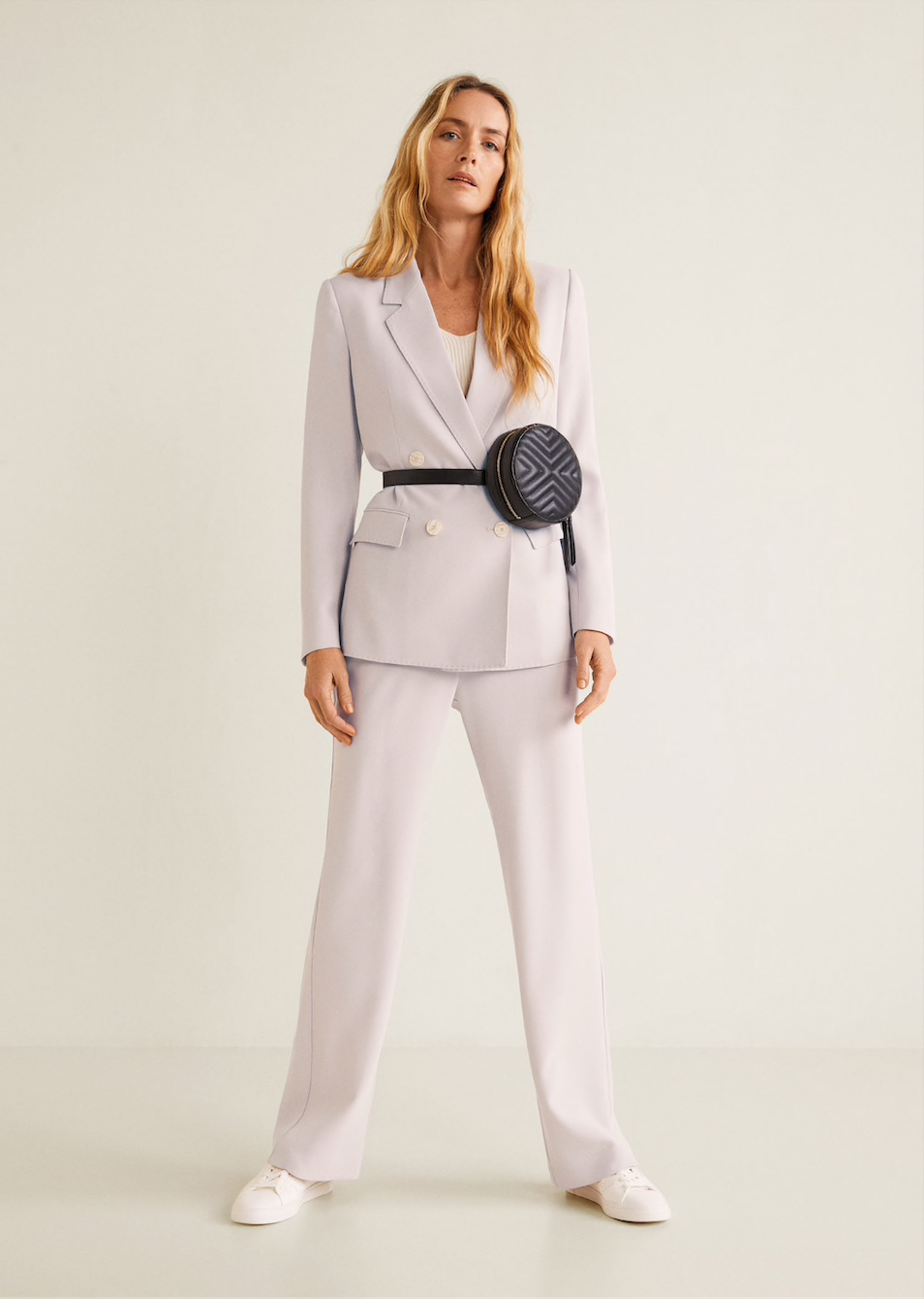 MANGO lilac suit jacket, $149.95    MANGO lilac suit pants, $99.95