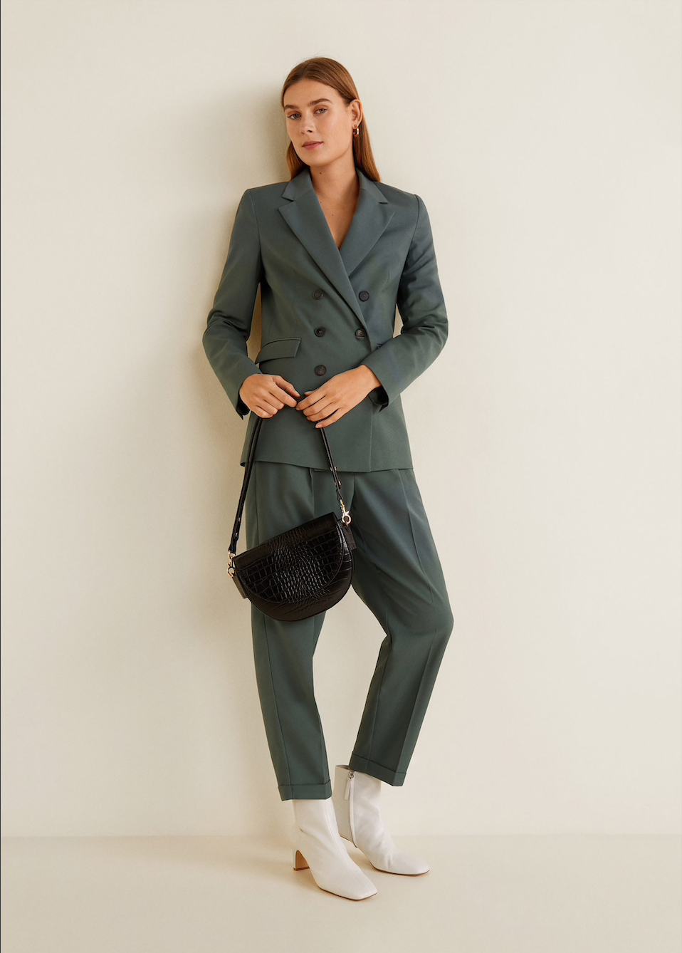 MANGO sage suit jacket, $129.95    MANGO sage suit pants, $79.95