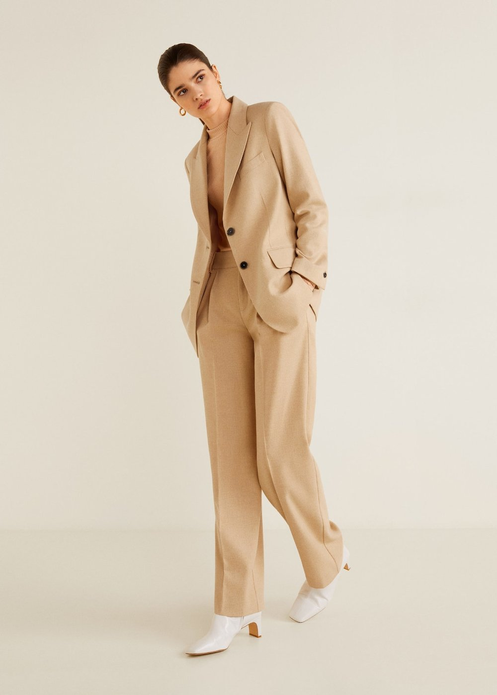 MANGO oatmeal suit jacket, $149.95   MANGO oatmeal suit pants, $99.95