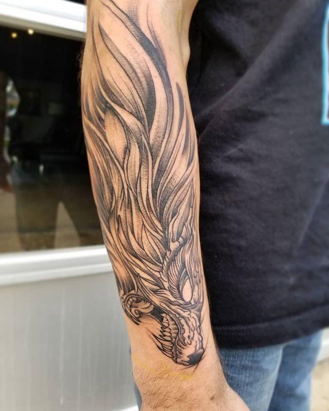 #fun #wolf #tattoo on @smith.travis100 #thabks for making the #trip up! #columbustattoos #igerscolumbus #lifeincbus #columbusmakesart #columbusalive #chaoticblackwork #blackworktattoo