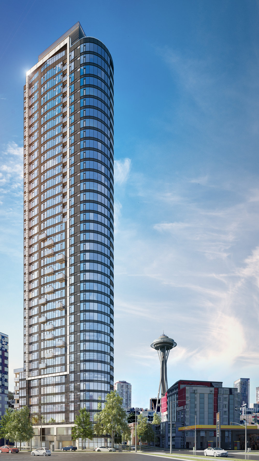 SPIRE (above) will utilize a first-of-its-kind semi-automated parking system on its 10,000 square foot site.