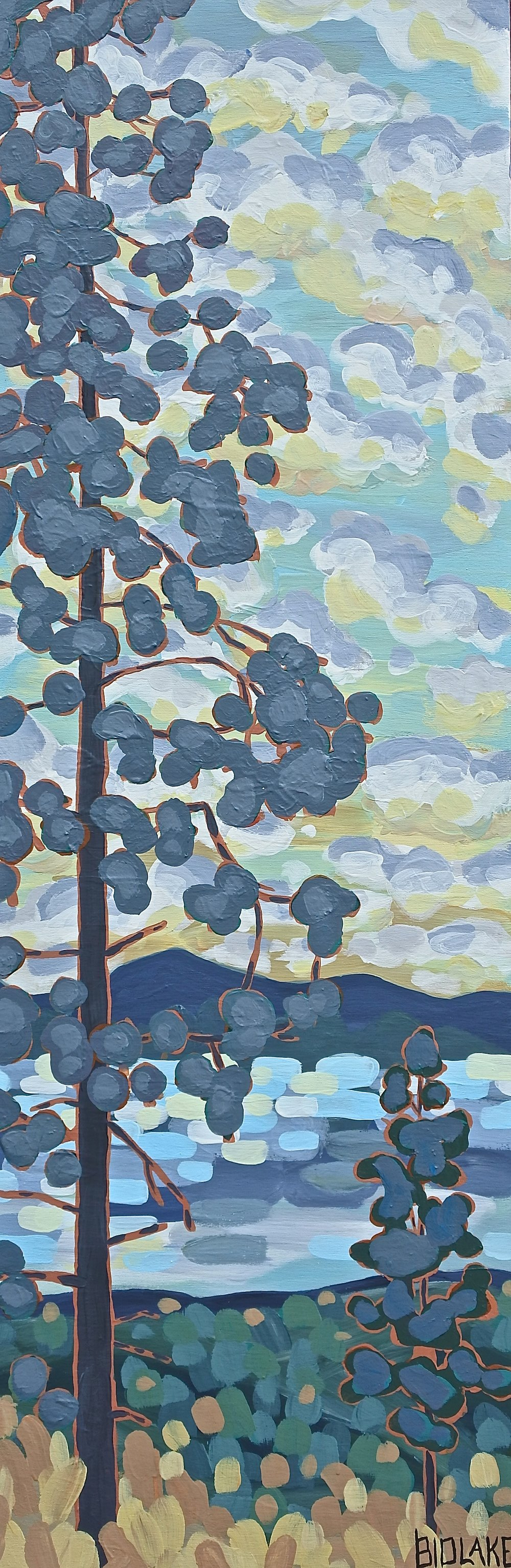 "'Dusky Pines' Sold 12x36"" acrylic on cradle"