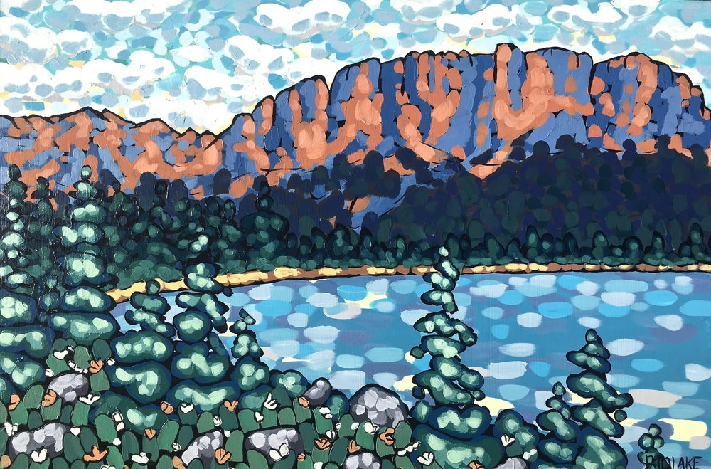 "'Mount Yamnuska' 24x36"" acrylic on cradle"