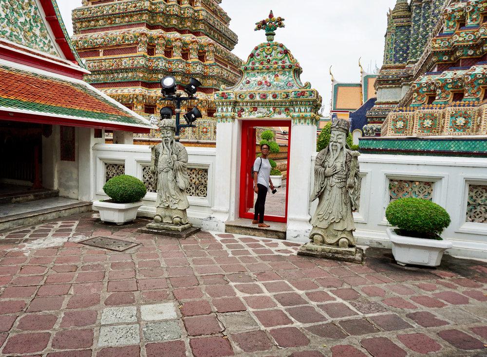Wat Pho in Bangkok near sacred statues