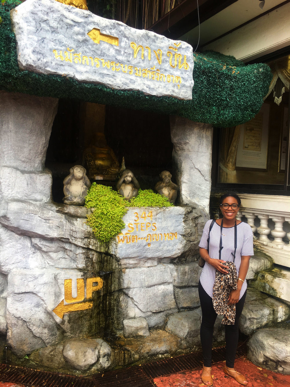 At the entrance of Golden Mount with the three wise monkeys
