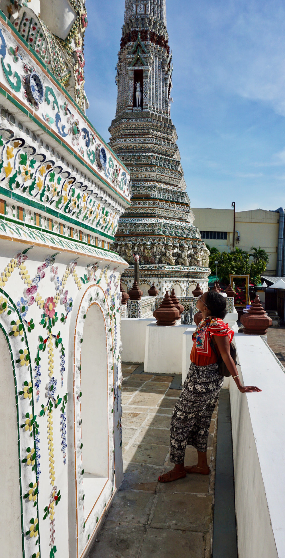 Closeup of the details on the outer walls of Wat Arun