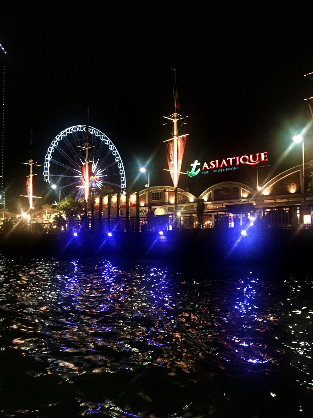 View of Asiatique shopping centre from the water in Bangkok