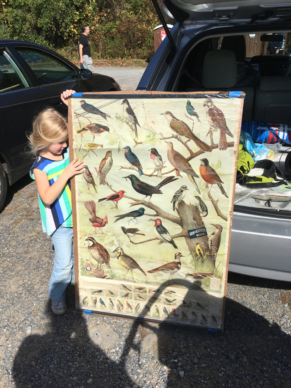 Emmeline holding one of my best flea market finds - a vintage Arm & Hammer bird identification chart from 1912. I paid $25 and I found the same one on ebay for $400!